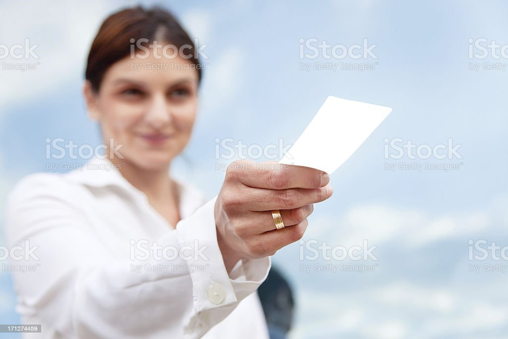 Offering business card royalty-free stock photo