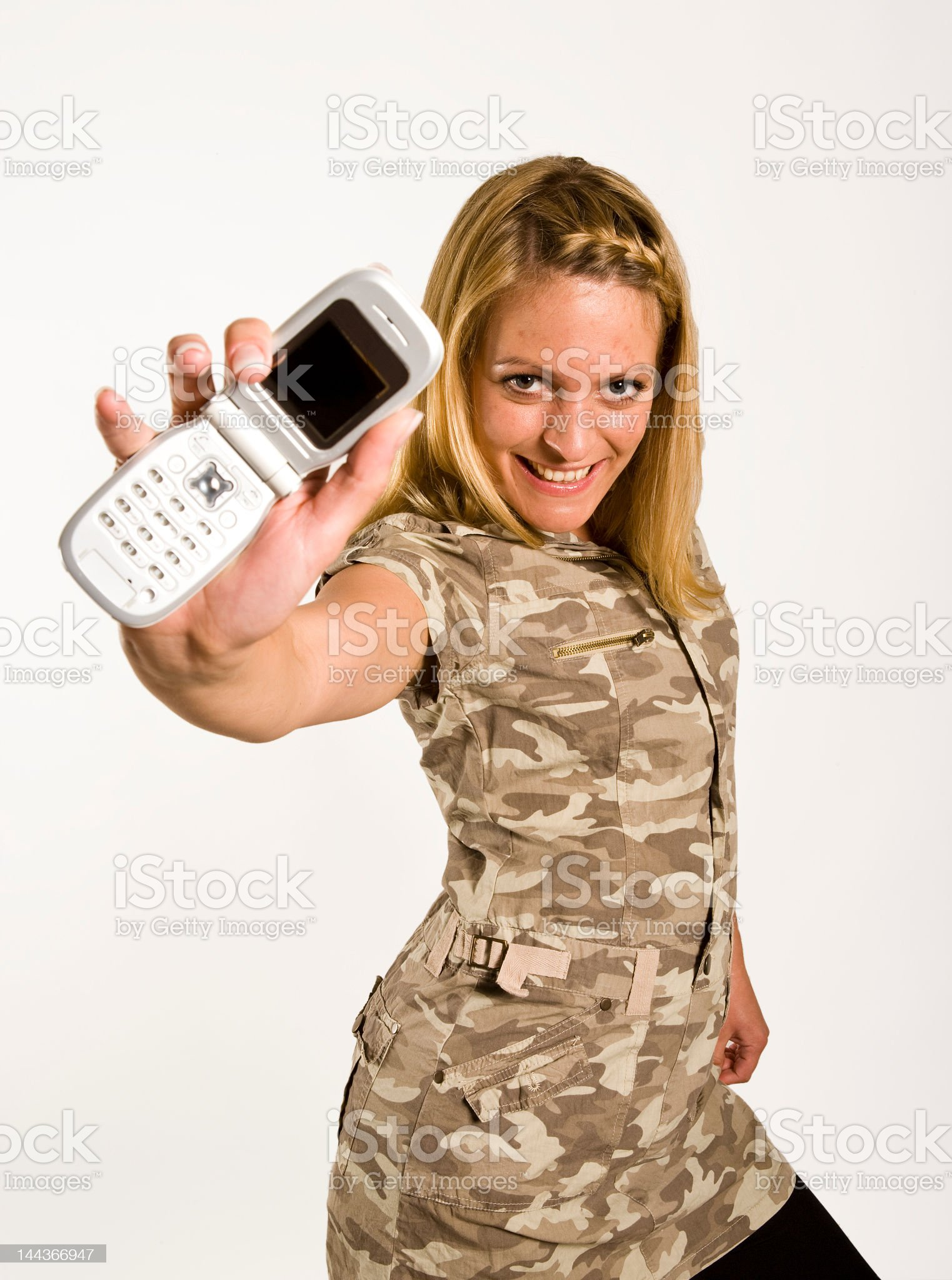 Offering Call center girl royalty-free stock photo