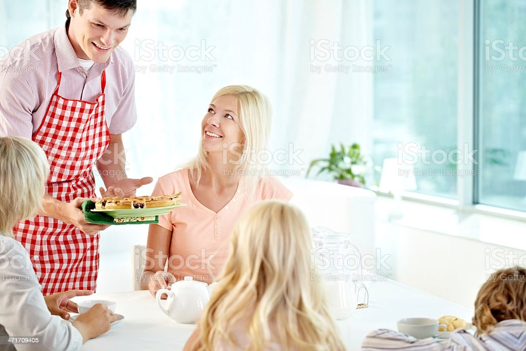 Offering delicious cake royalty-free stock photo