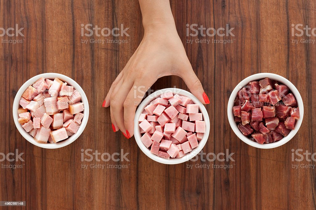 Offering diced hams stock photo