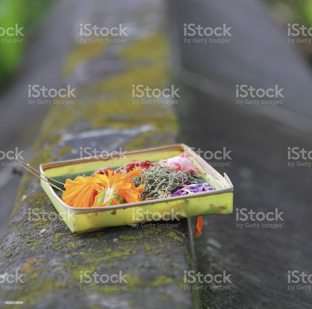 Offering for Hindu gods stock photo