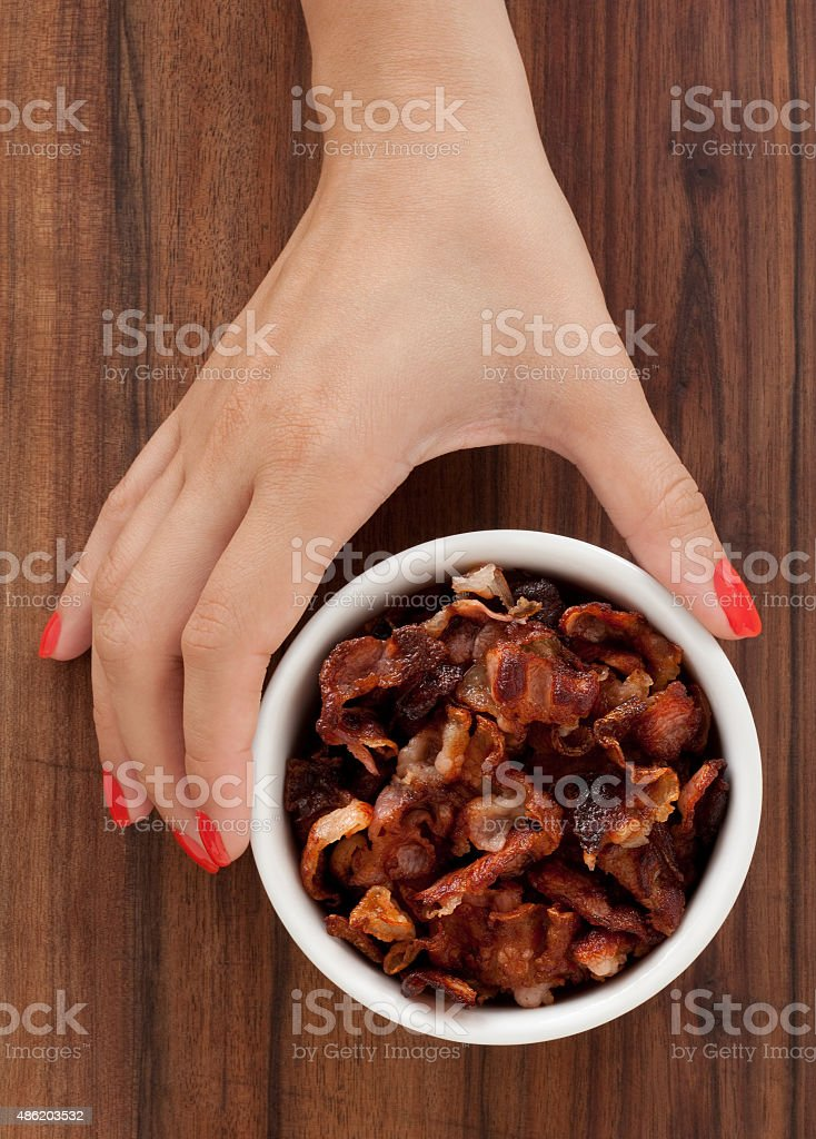 Offering fried bacon stock photo