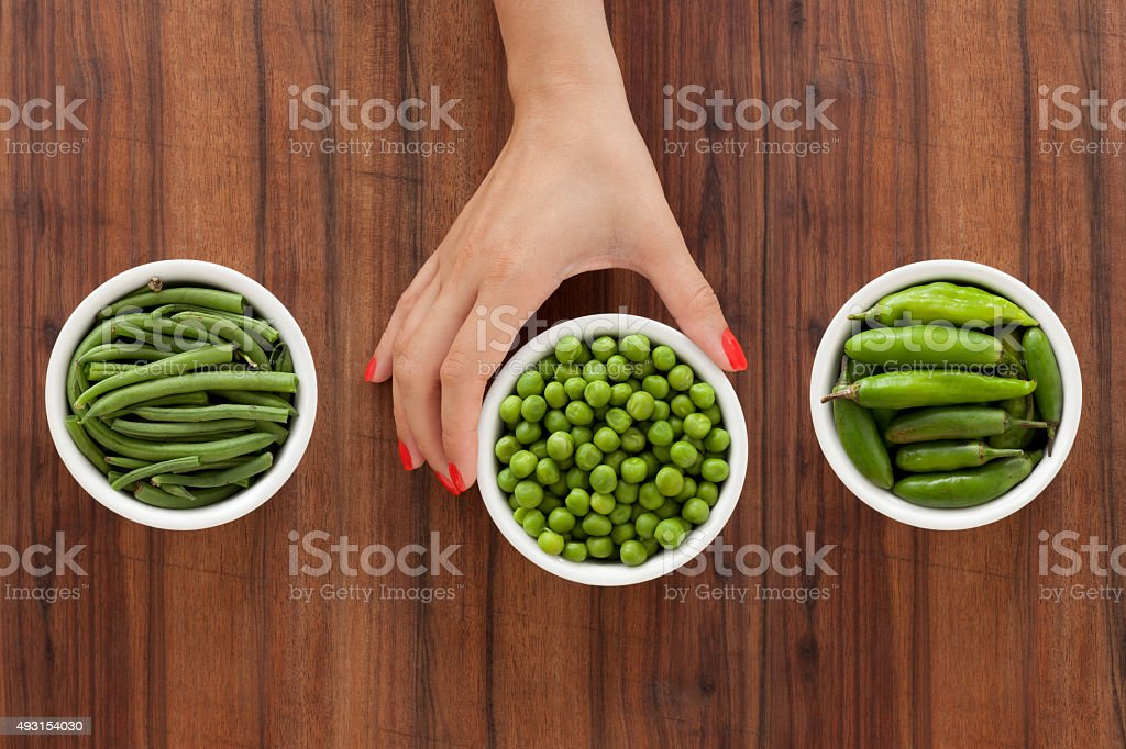 Offering green vegetables stock photo