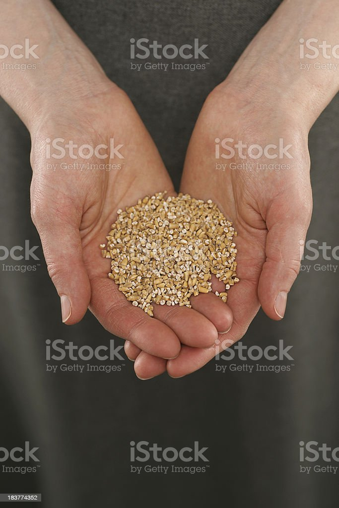 Offering Hands with Steel Cut Oatmeal royalty-free stock photo