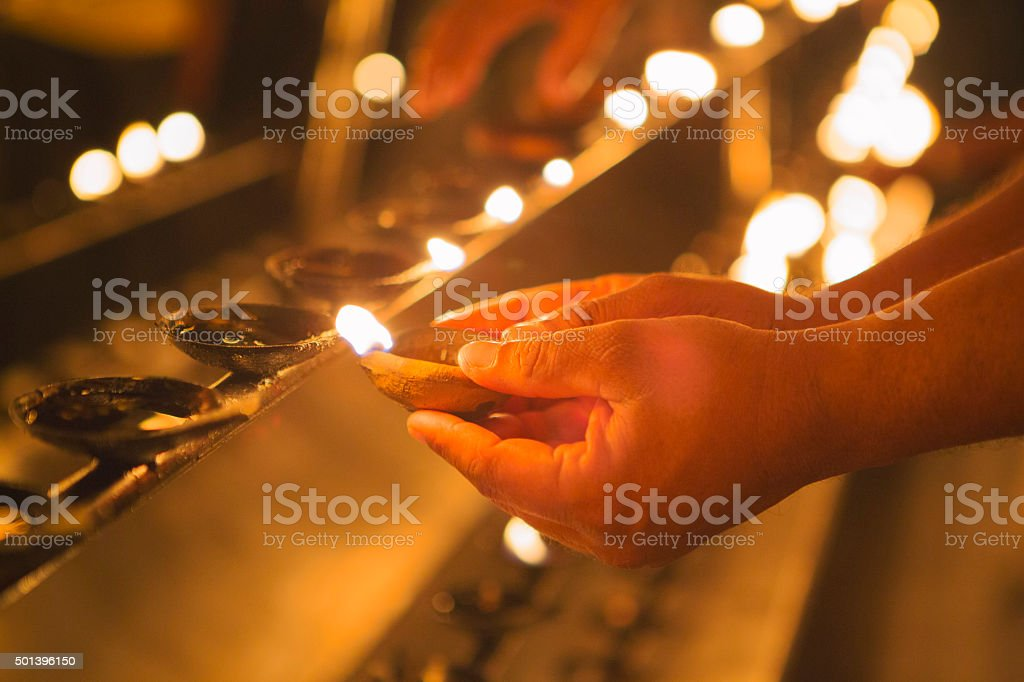 Offering in Budhist Temple, Sri Lanka stock photo