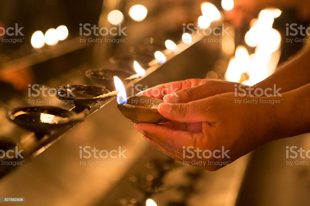 Offering in Budhist Temple, Sri Lanka stock photo