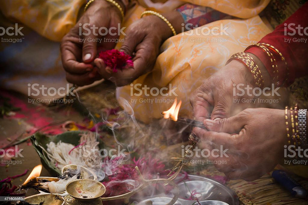 Offering in nepali hindu ceremony ( puja ) stock photo