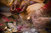 Offering in nepali hindu ceremony ( puja )