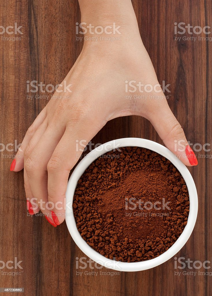 Offering instant coffee stock photo