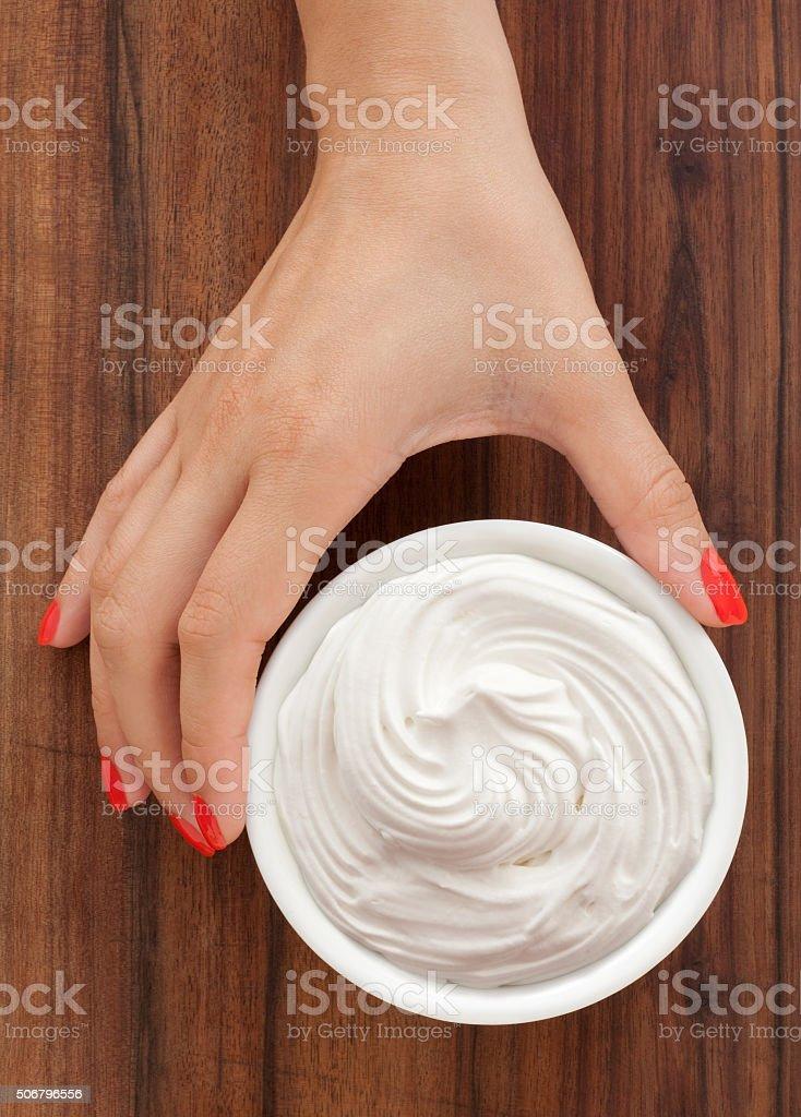 Offering italian meringue stock photo