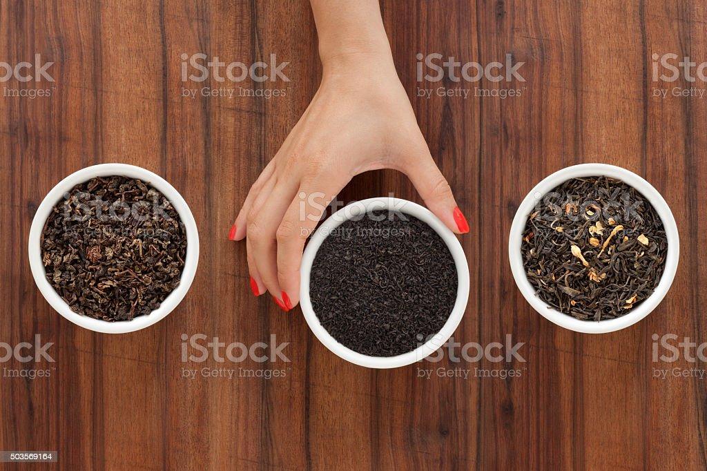 Offering loose teas stock photo