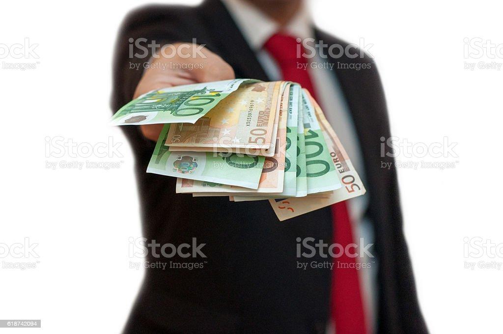 Offering money stock photo