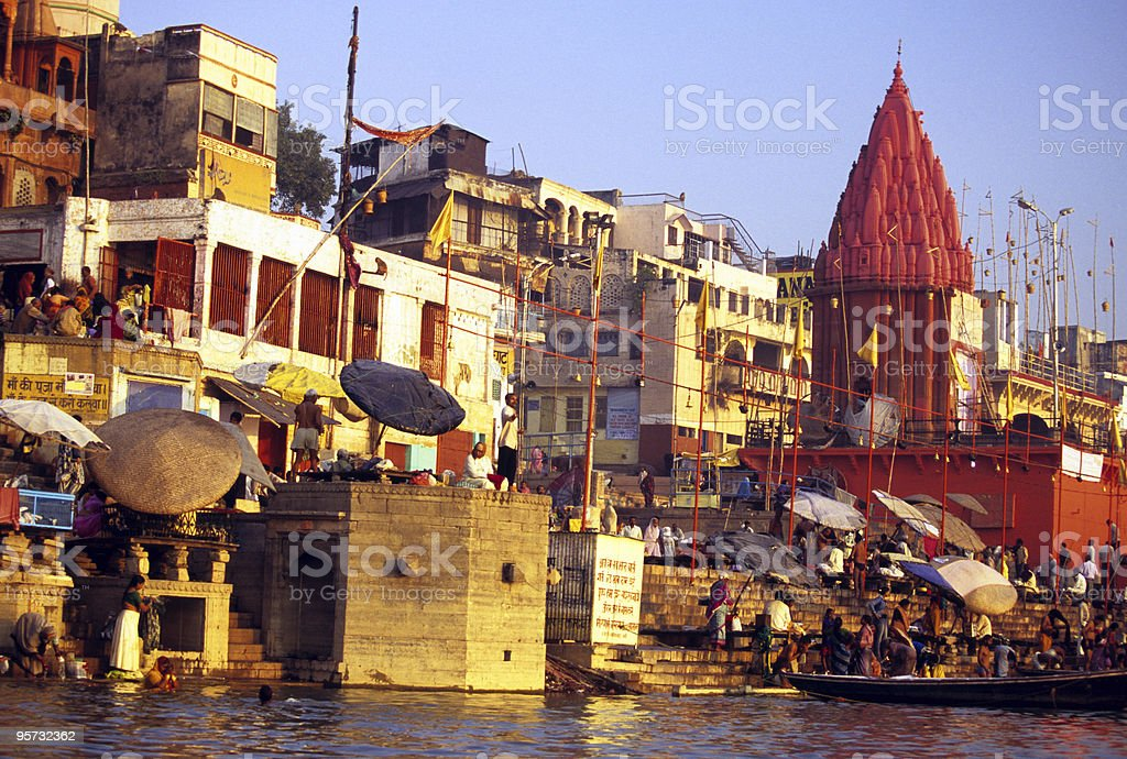 Offering on the Ganges, Varanasi, India royalty-free stock photo