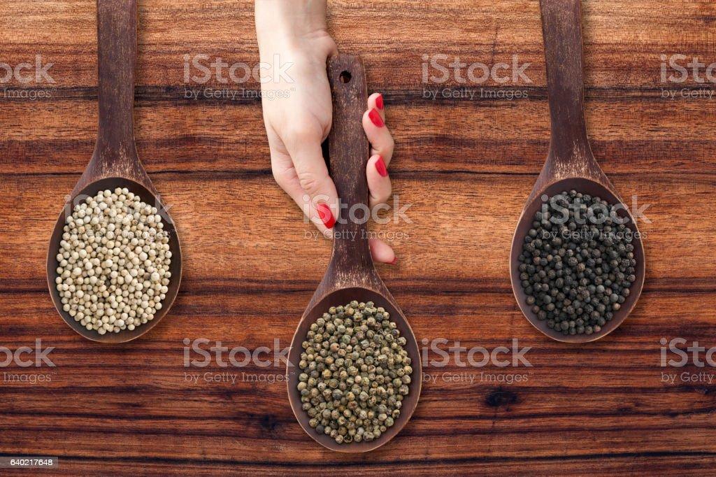 Offering peppercorns stock photo