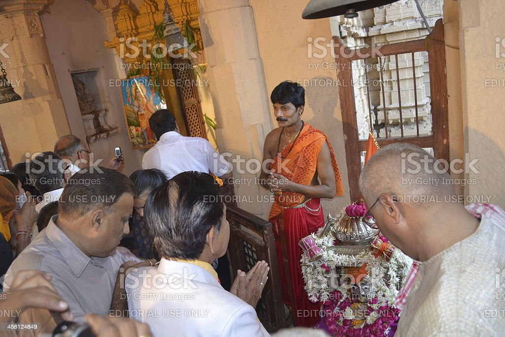 Offering prayers to Lord Shiva Hatkeshwar stock photo