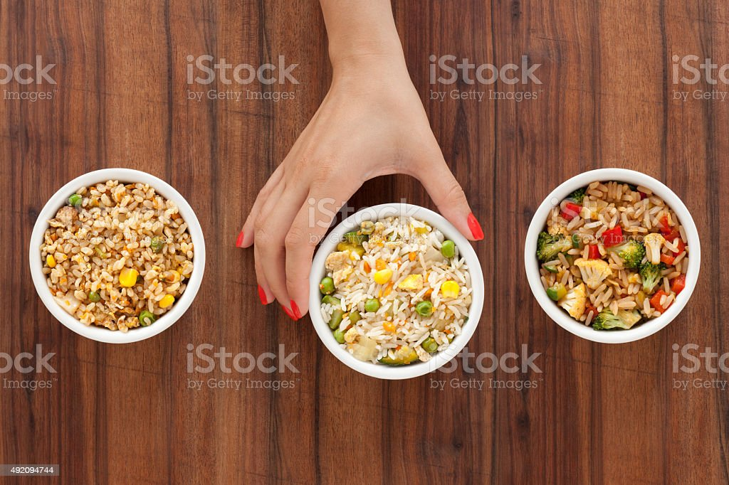 Offering rice meals stock photo