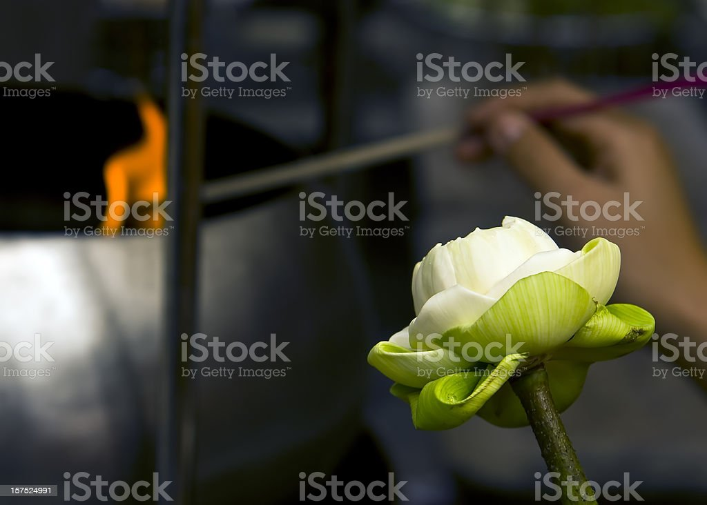 Offering to Budda in Thailand royalty-free stock photo