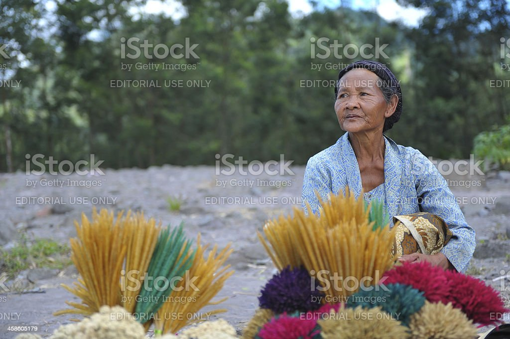 offering to Mt. Merapi stock photo