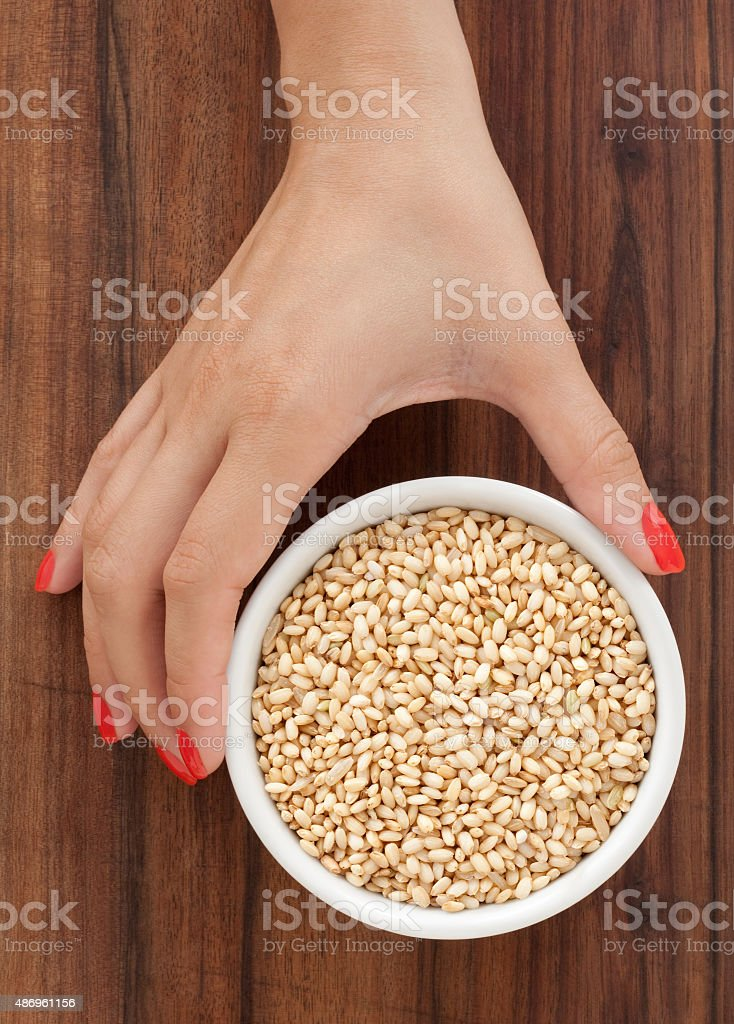 Offering whole grain mochi rice stock photo