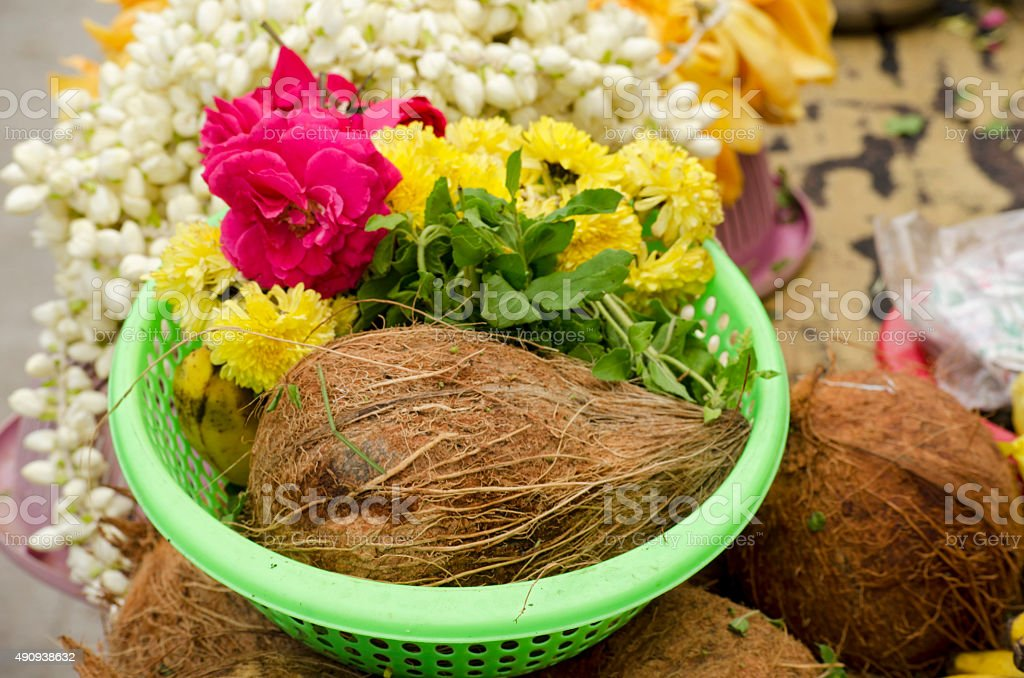 Offerings at Parthasarathy Temple, Chennai stock photo