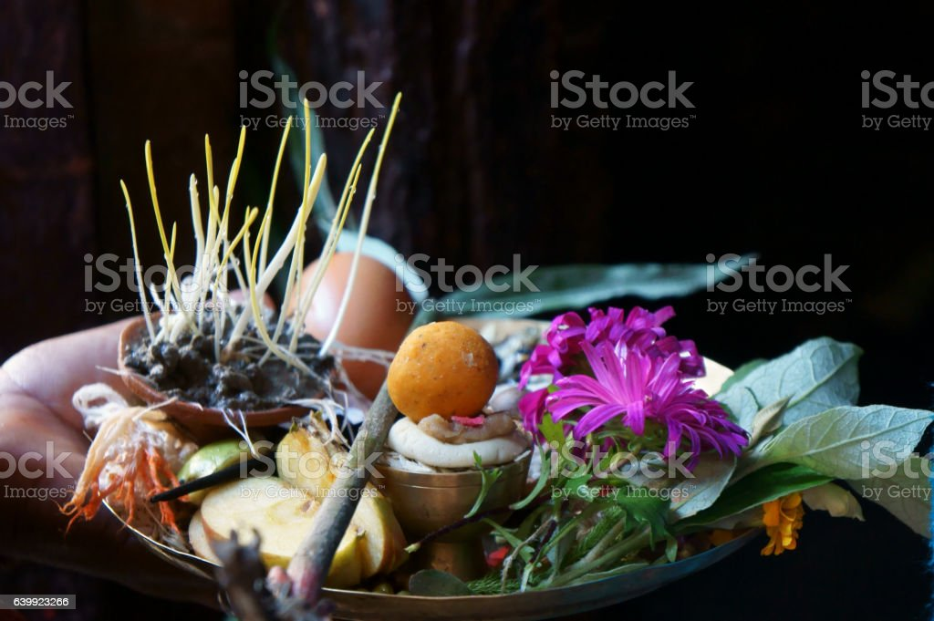 offerings during dashain festival time in Bhaktapur stock photo