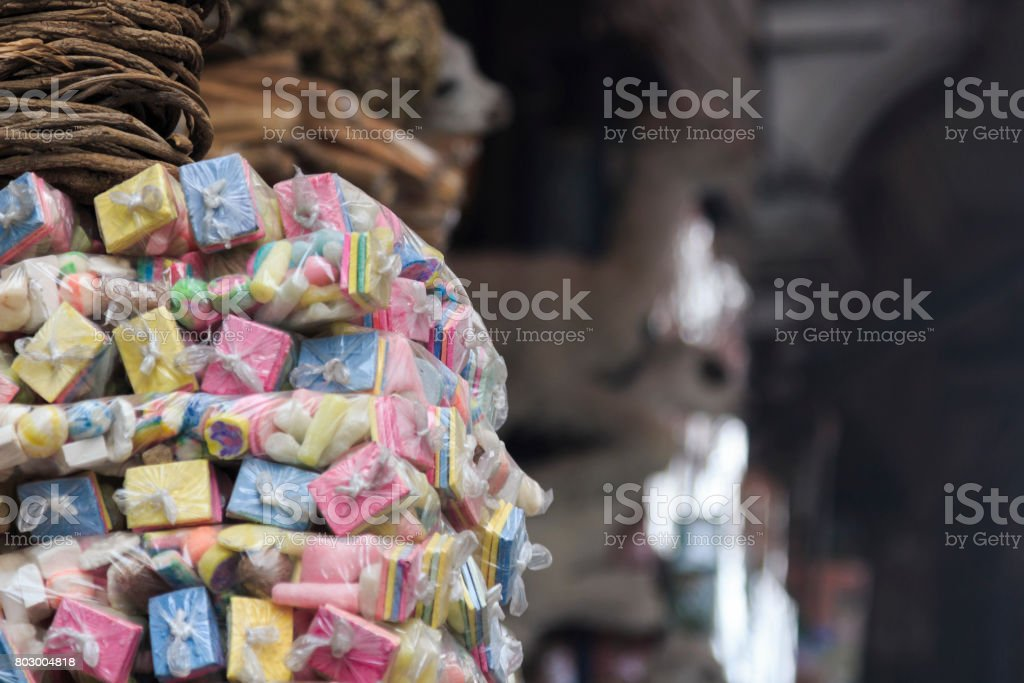 Offerings for sale in a street shop stock photo