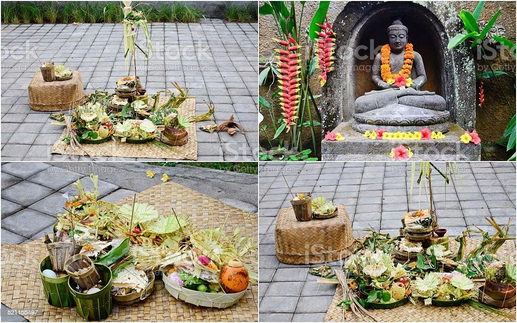 offerings in Bali stock photo