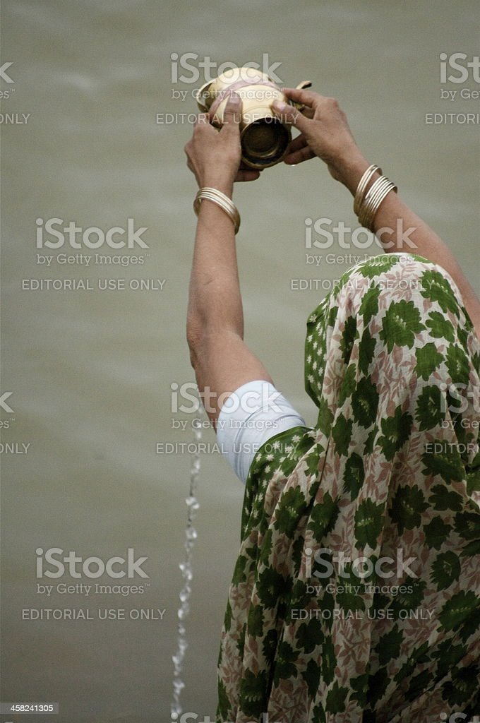 Offerings To Mother Ganga royalty-free stock photo