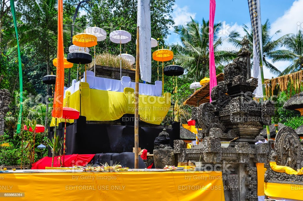 Offerings to the gods in Tirta Empul in Bali, Indonesia stock photo