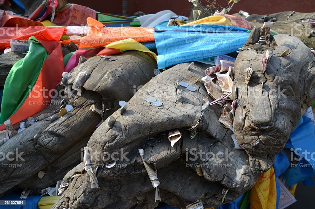 Offers on sculpture at Da Zhao Temple, Hohhot, Inner Mongolia stock photo