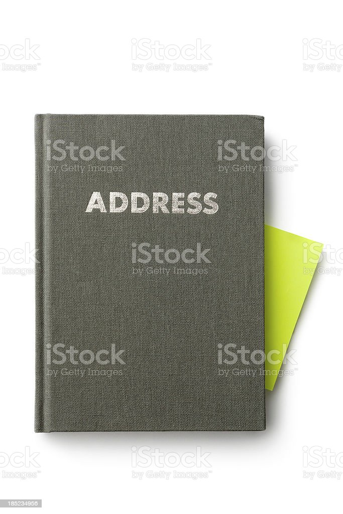 Office: Address Book and Adhesive Note stock photo