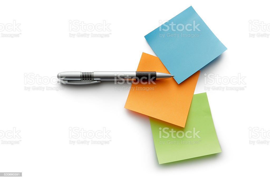 Office: Adhesive Notes and Ballpoint Pen stock photo