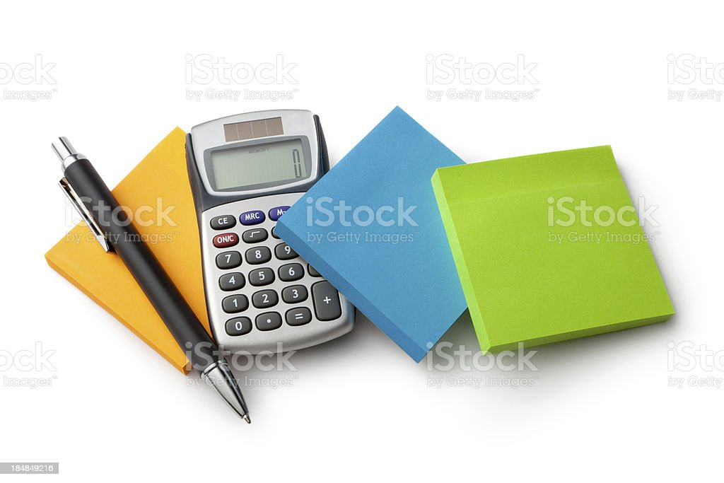 Office: Adhesive Notes, Calculator and Pen royalty-free stock photo