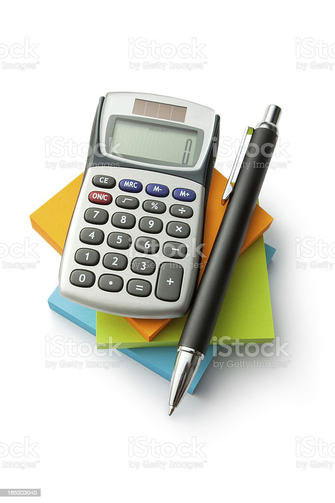 Office: Adhesive Notes, Calculator and Pen stock photo