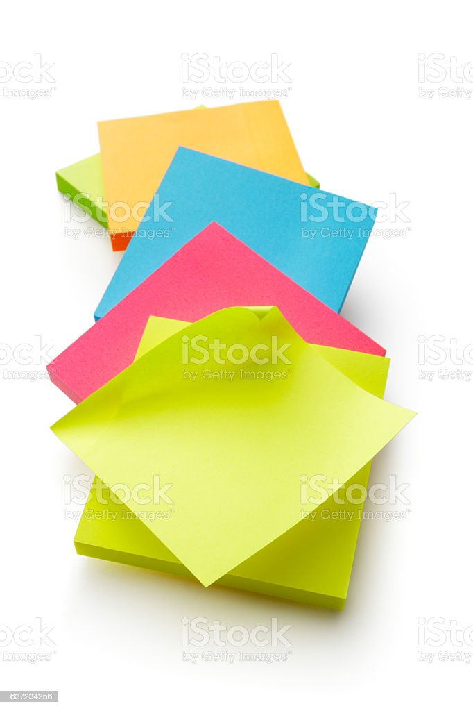 Office: Adhesive Notes Isolated on White Background stock photo