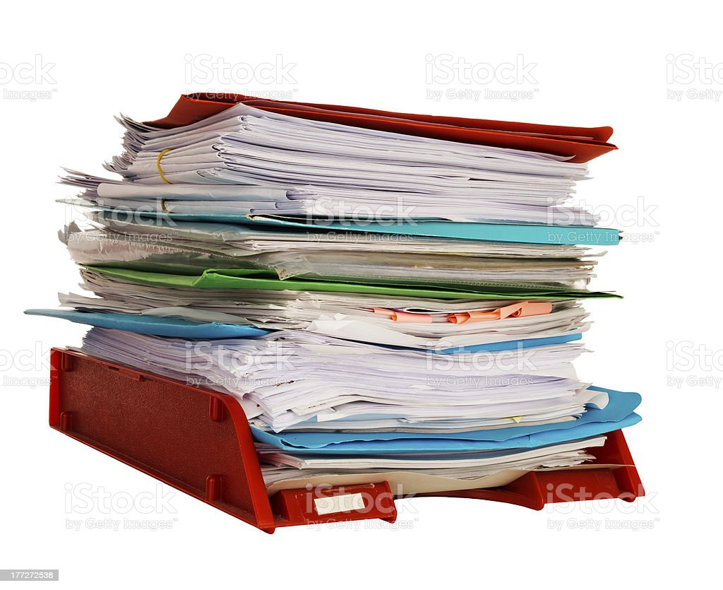 Office administration in-tray aka in tray isolated over white stock photo