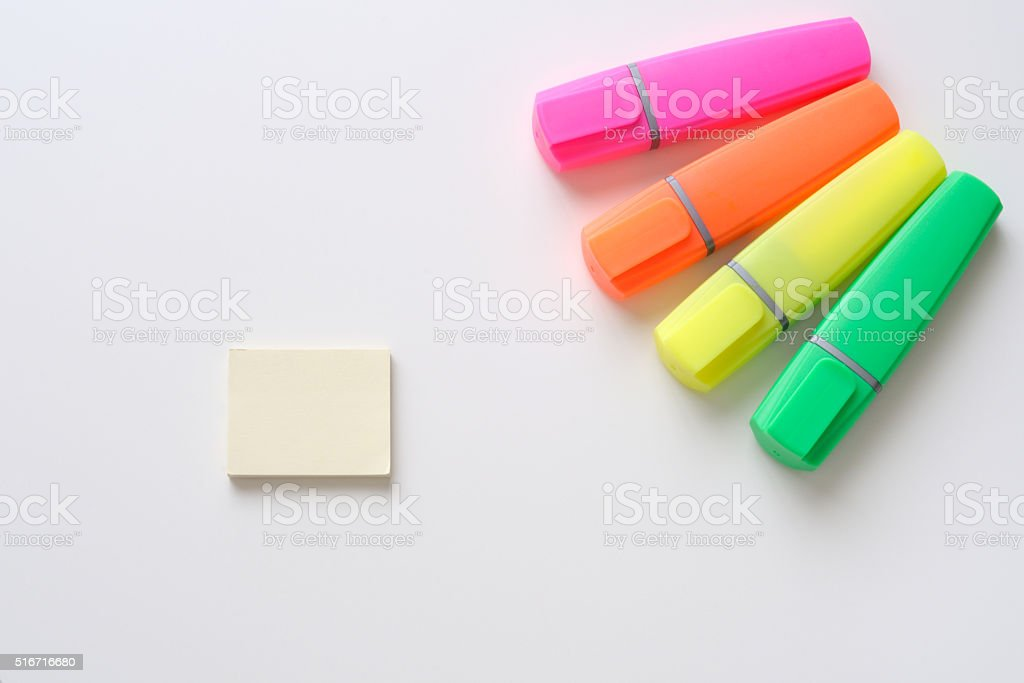 Office background, four highlighters and notes stock photo