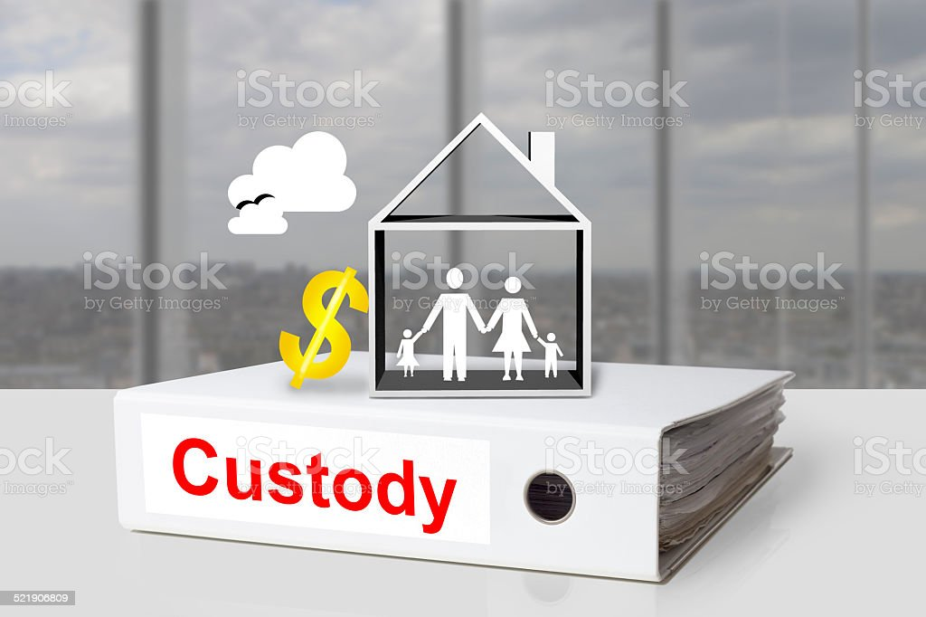 office binder custody family house dollar symbol stock photo
