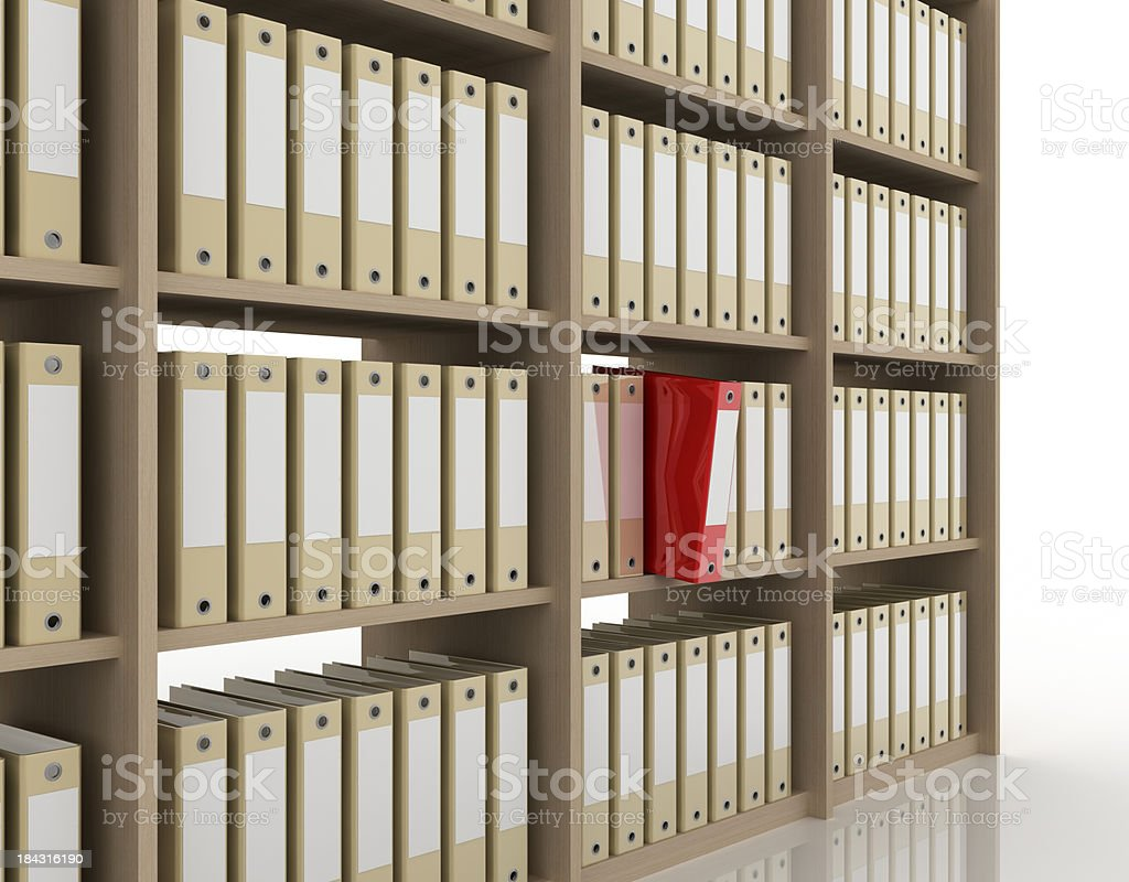 Office binders on bookcase (isolated on-white) stock photo