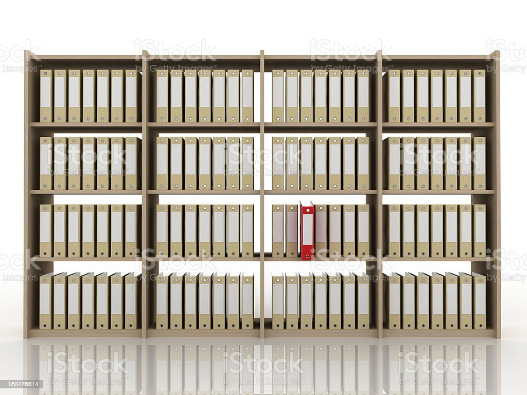 Office binders on bookcases (isolated on-white) stock photo