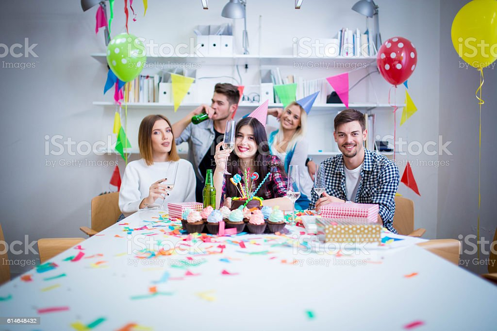 Office birthday celebration stock photo