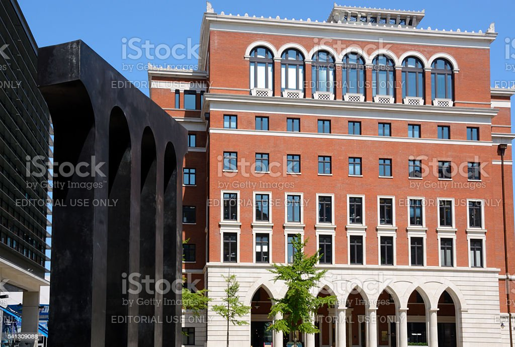 Office block and aquaduct in Brindleyplace, Birmingham. stock photo