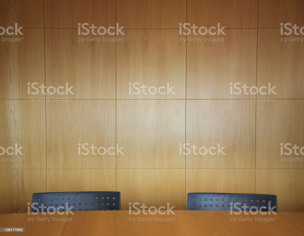 Office Boardroom with Two Chairs and Table stock photo