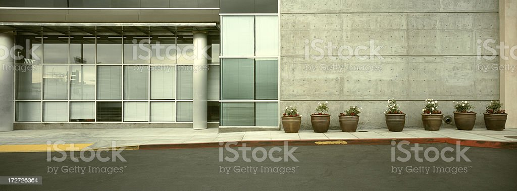 Office Building and Flower Pots royalty-free stock photo