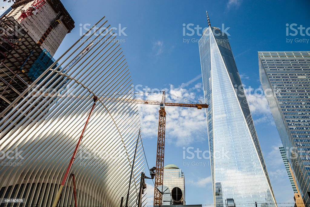Office building and Freedom Tower in NY Downtown District stock photo