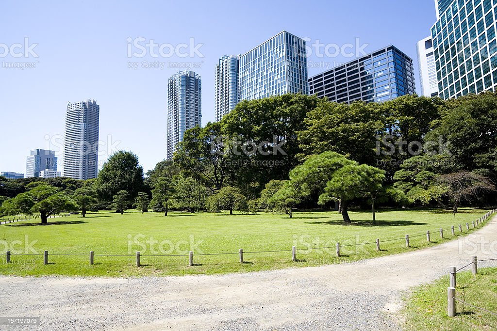 Office building and Japanese garden stock photo