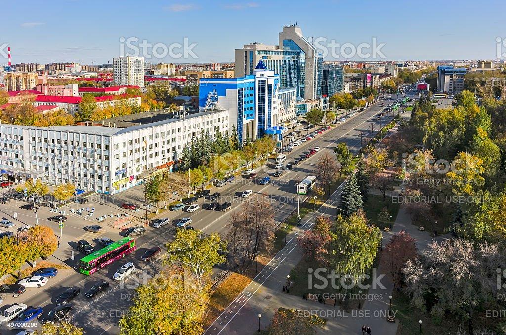 Office building and Respubliki street. Tyumen stock photo