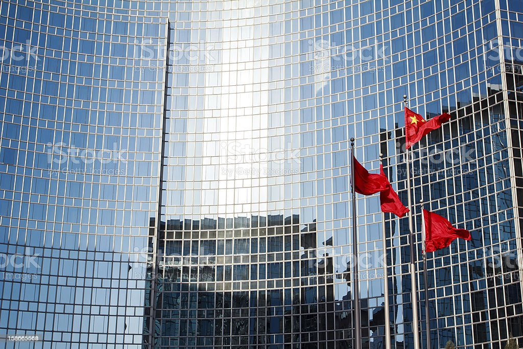 Office building and the Chinese national flag stock photo