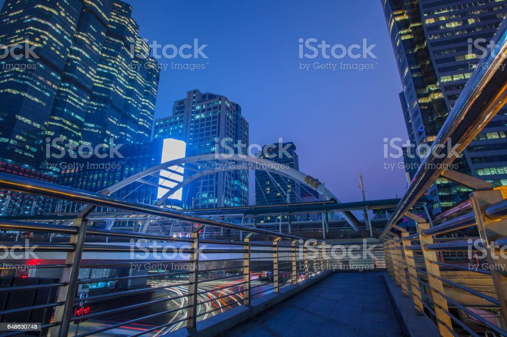 office building and traffic light in sathorn road silom most important business center in bangkok thailand capital stock photo