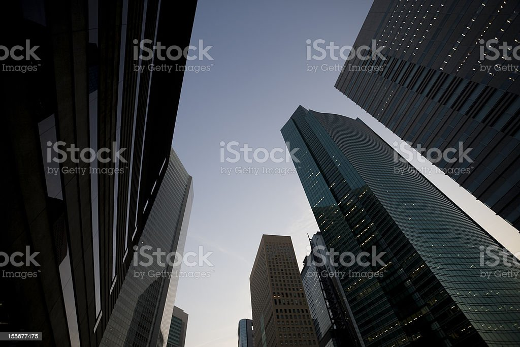 Office building at dusk stock photo